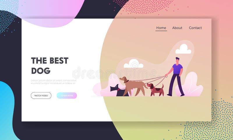 Criador que anda com cães Team Website Landing Page Povos que passam o tempo com os animais de estimação que relaxam fora no parq ilustração royalty free