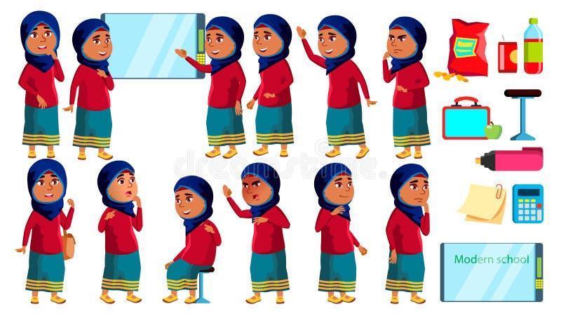 A criança árabe, muçulmana da menina levanta vetor ajustado Aluno alto schoolchild Engraçado, amizade, apreciação da felicidade p ilustração do vetor