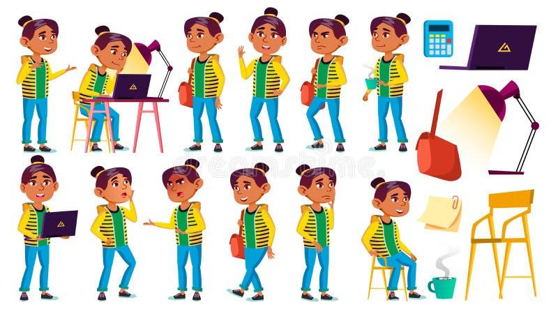 A criança árabe, muçulmana da menina levanta vetor ajustado Aluno alto teenage Beleza, estilo de vida, amigável Para a Web, carta ilustração royalty free