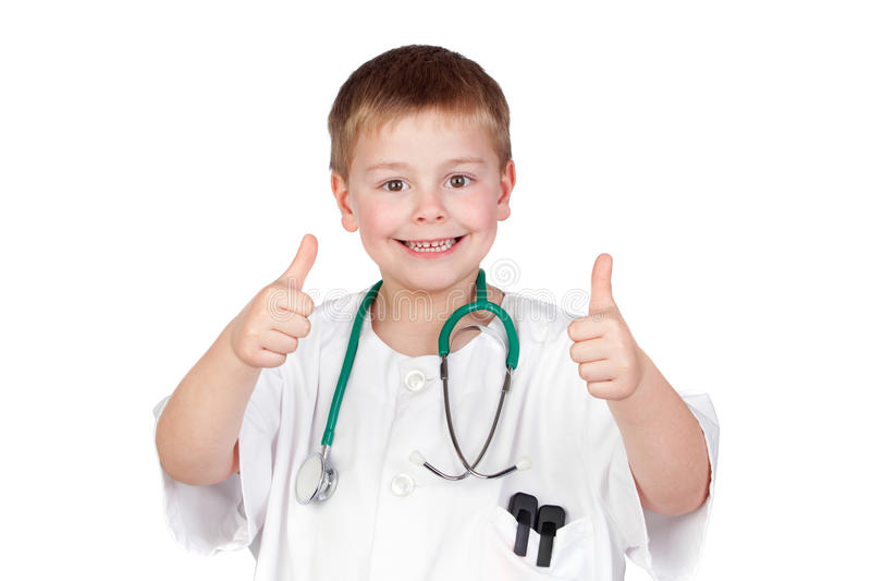 Criança adorável com uniforme do doutor que diz está bem fotografia de stock