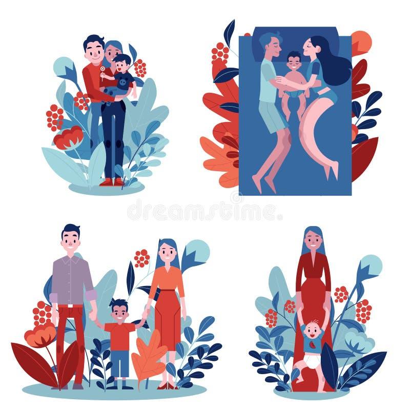 Criança adulta lisa da filha dos pares do vetor que abraça o grupo ilustração do vetor
