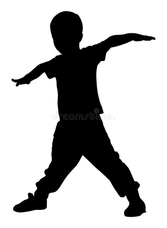 Criança alegre feliz, rapaz pequeno que faz exercícios, silhueta ilustração royalty free