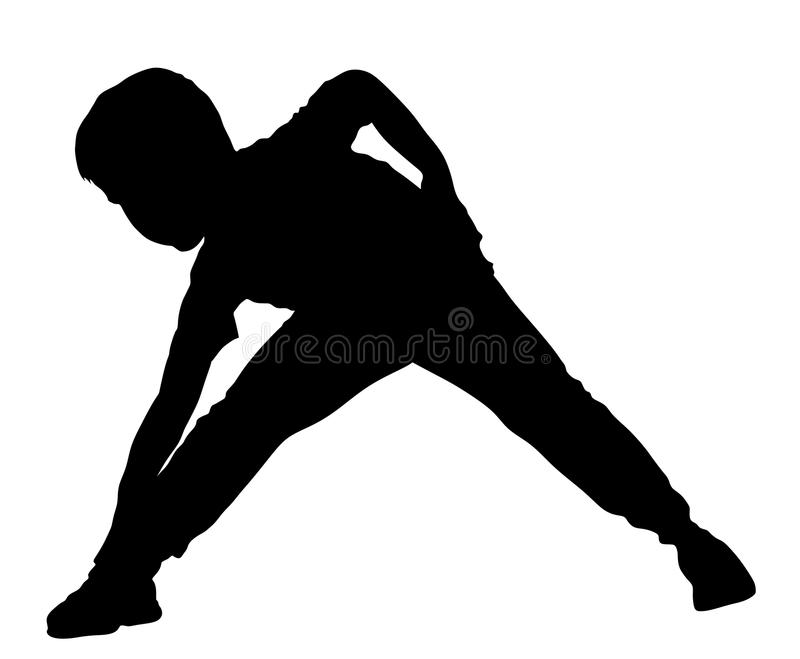 Criança alegre feliz, rapaz pequeno que faz exercícios, silhueta ilustração do vetor