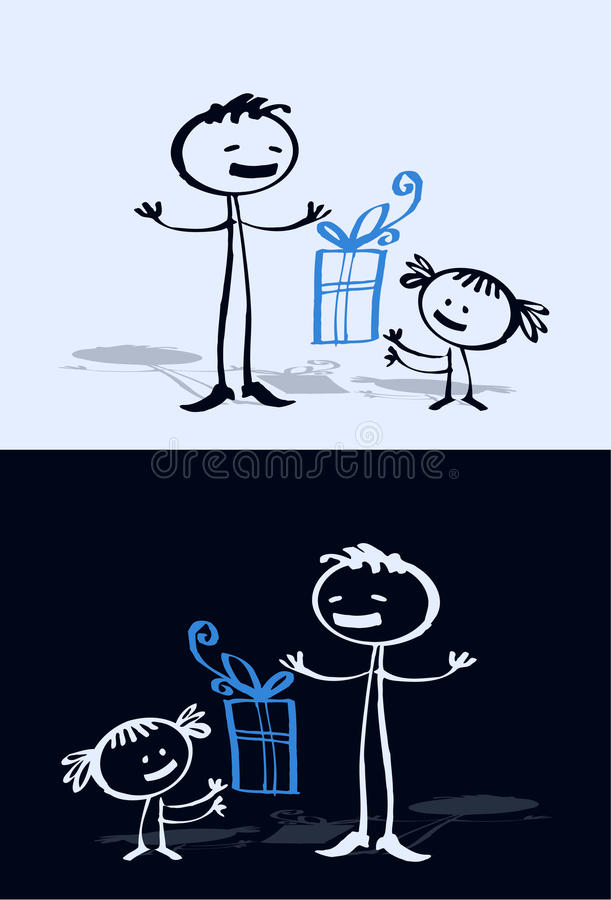 Criança & paizinho dos desenhos animados ilustração do vetor