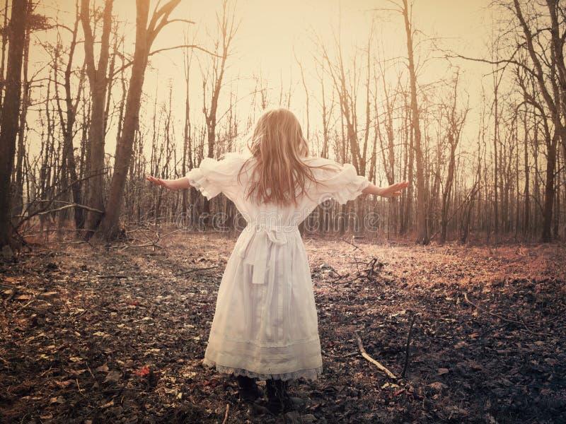 Criança apenas no vestido branco nas madeiras fotos de stock royalty free