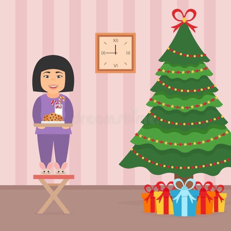 Criança asiática bonita bonito da menina que está em uma cadeira perto da árvore de Natal Interior da sala no estilo liso do veto ilustração royalty free