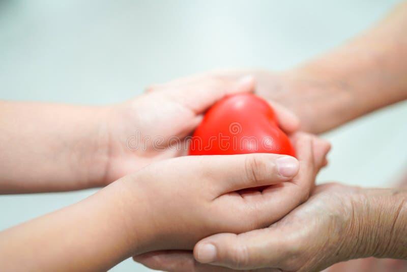 Criança asiática das crianças para dar a coração vermelho a saúde forte à senhora idosa da mãe com amor fotografia de stock