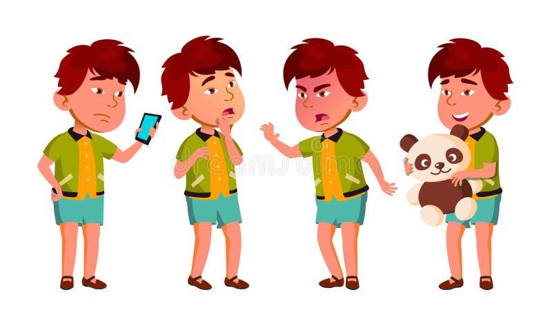 A criança asiática do jardim de infância do menino levanta vetor ajustado Expressão caucasiano da criança atividade Para a bandei ilustração stock