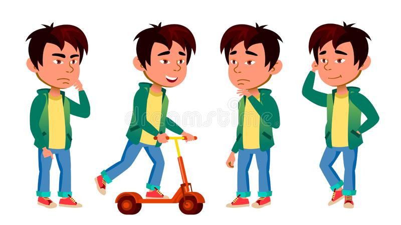 A criança asiática do menino levanta vetor ajustado Escola preliminar Kifestyle Para a Web, folheto, projeto do cartaz Desenhos a ilustração stock