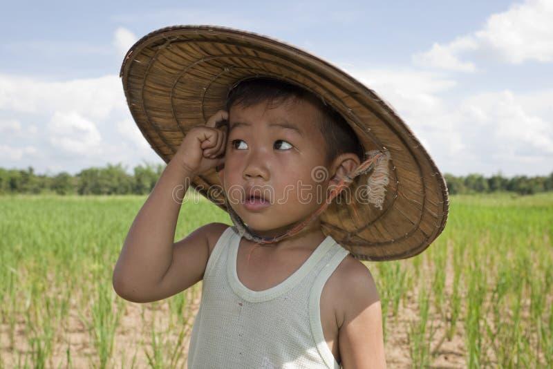 Criança asiática do retrato no campo de almofada fotografia de stock royalty free