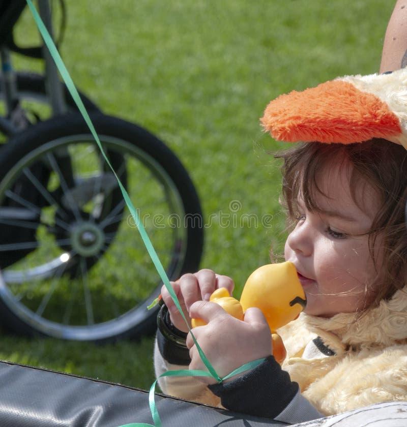 A criança beija seu pato de borracha para a boa sorte antes que as raças comecem fotografia de stock
