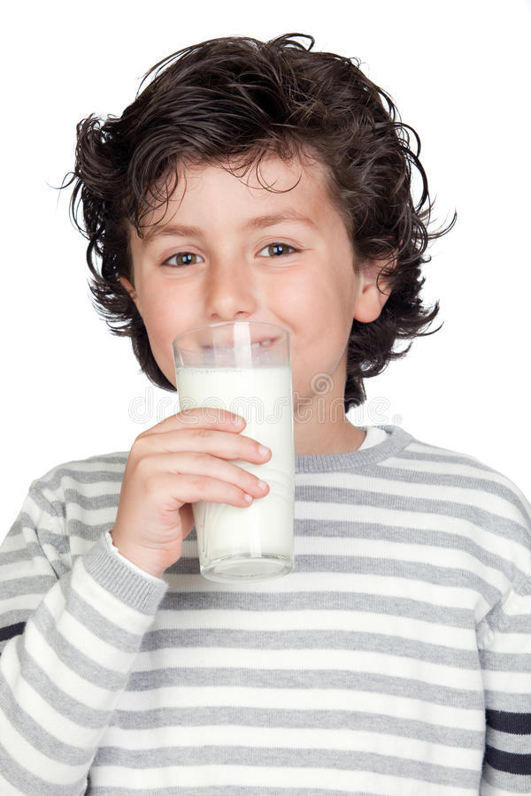 Criança bonita com vidro do leite imagens de stock
