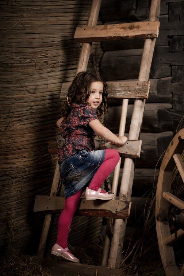 Criança bonita na exploração agrícola imagem de stock