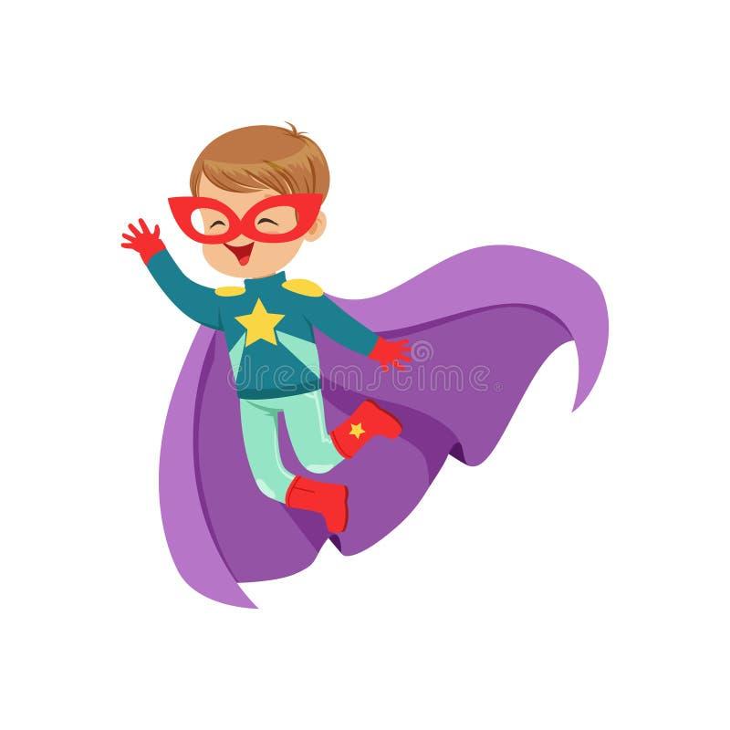 Criança bonito cômica do voo no traje colorido do super-herói com a estrela na caixa, na máscara e em tornar-se no casaco do roxo ilustração stock
