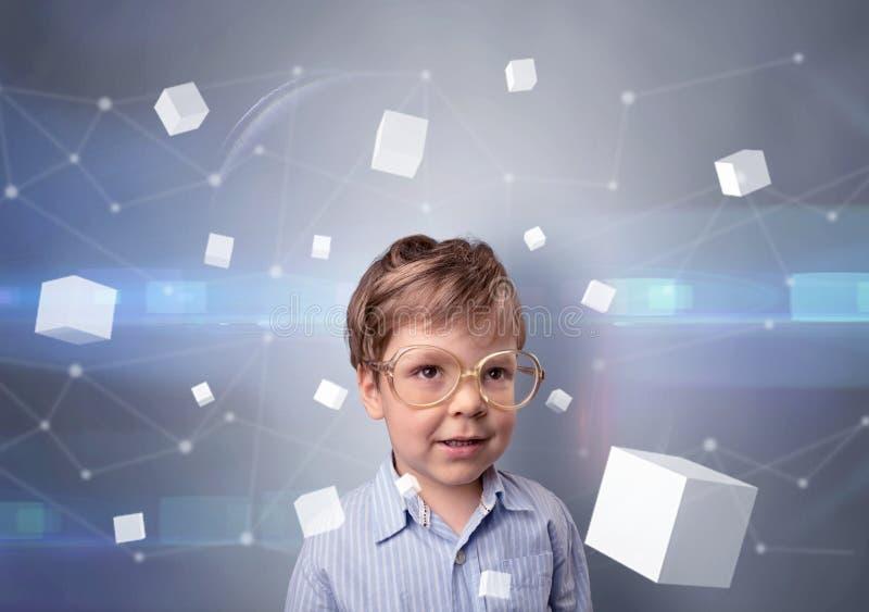 Criança bonito com cubos luminosos ao redor fotos de stock