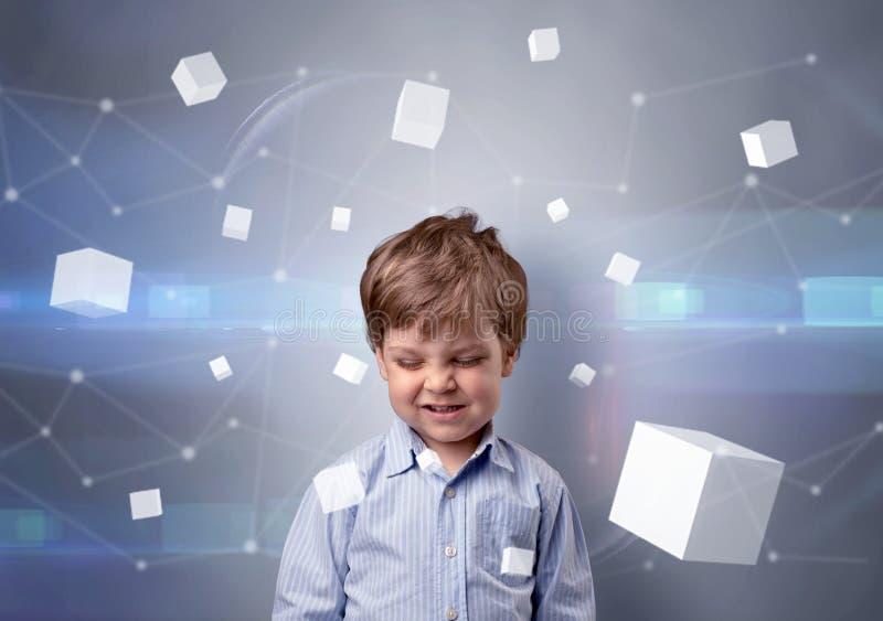 Criança bonito com cubos luminosos ao redor imagem de stock royalty free