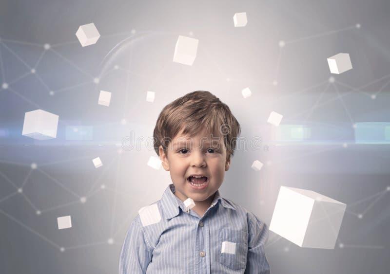 Criança bonito com cubos luminosos ao redor imagem de stock