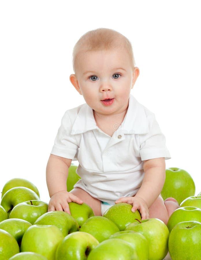 Criança bonito com o alimento saudável isolado no branco fotografia de stock royalty free
