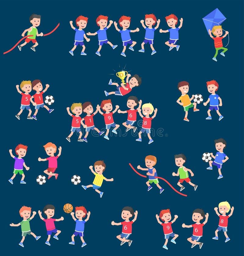 Criança bonito do caráter do vetor que joga o futebol, basquetebol ilustração do vetor