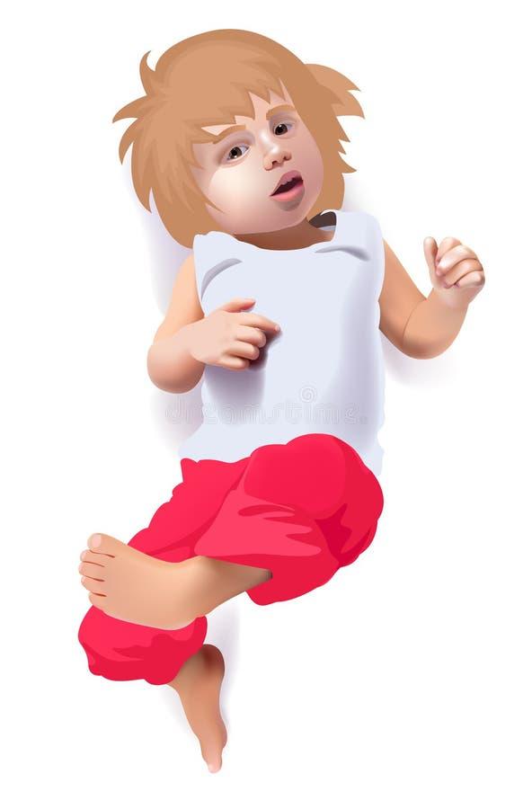 Criança bonito do vetor em calças vermelhas ilustração do vetor