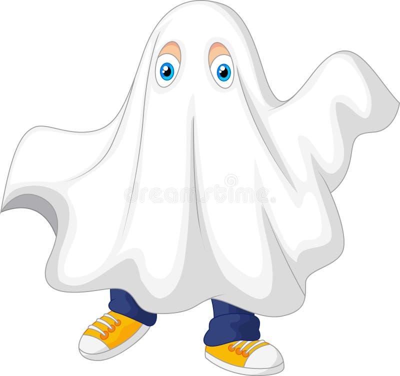 Criança bonito dos desenhos animados em um traje do fantasma que comemora Dia das Bruxas ilustração stock