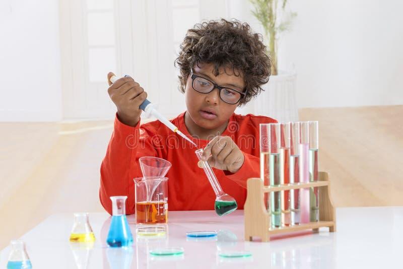 A criança bonito muito séria com os vidros dos olhos que fazem a química experimenta menino que guarda a garrafa e o tubo de ensa fotos de stock royalty free