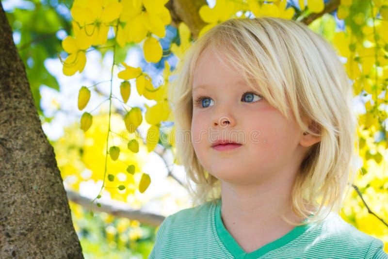 Criança bonito na árvore com as flores amarelas bonitas fotografia de stock royalty free