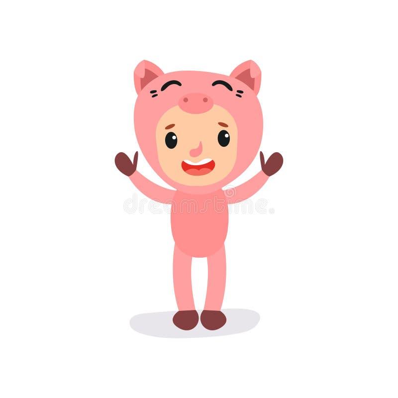 Criança bonito no traje cor-de-rosa do porco Caráter do menino ou da menina no terno animal engraçado Criança com a cara feliz qu ilustração royalty free