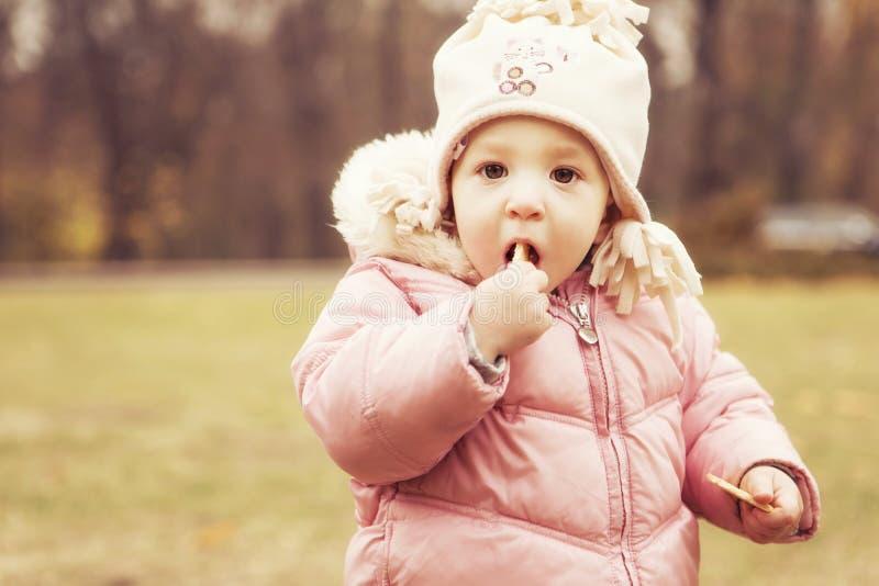 Criança bonito pequena da menina que tem o divertimento no parque na roupa morna do outono & no x28; fotografia de stock