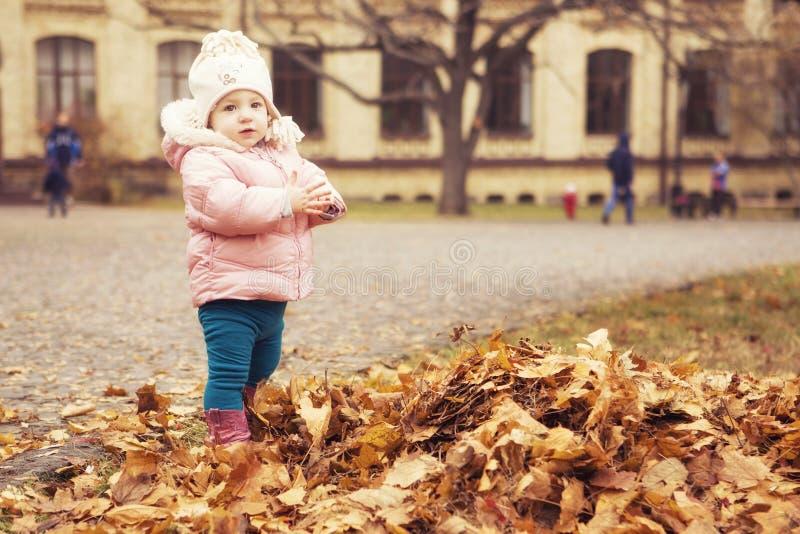 Criança bonito pequena da menina que tem o divertimento no parque na roupa morna do outono & no x28; fotos de stock