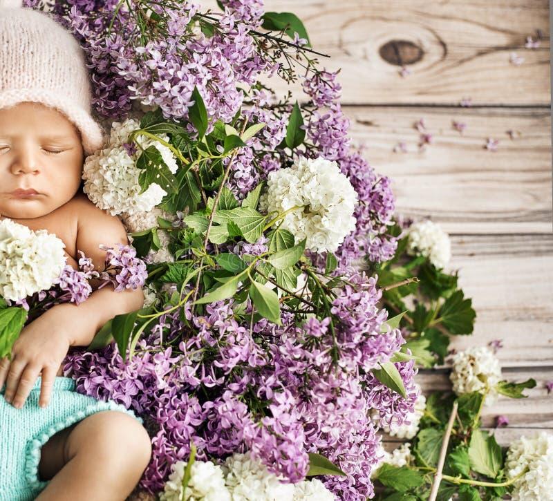 Criança bonito que dorme nas flores fotografia de stock