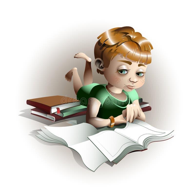 Criança bonito que folheia através do livro imagem de stock
