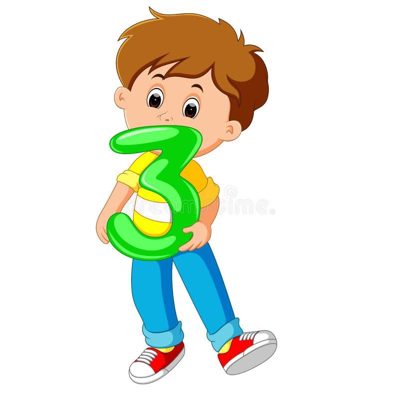 Criança bonito que guarda o balão com número três ilustração stock