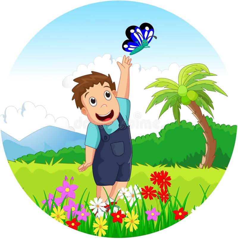Criança bonito que joga com borboletas ilustração do vetor