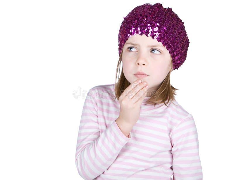 Criança bonito que olha pensativa imagem de stock royalty free
