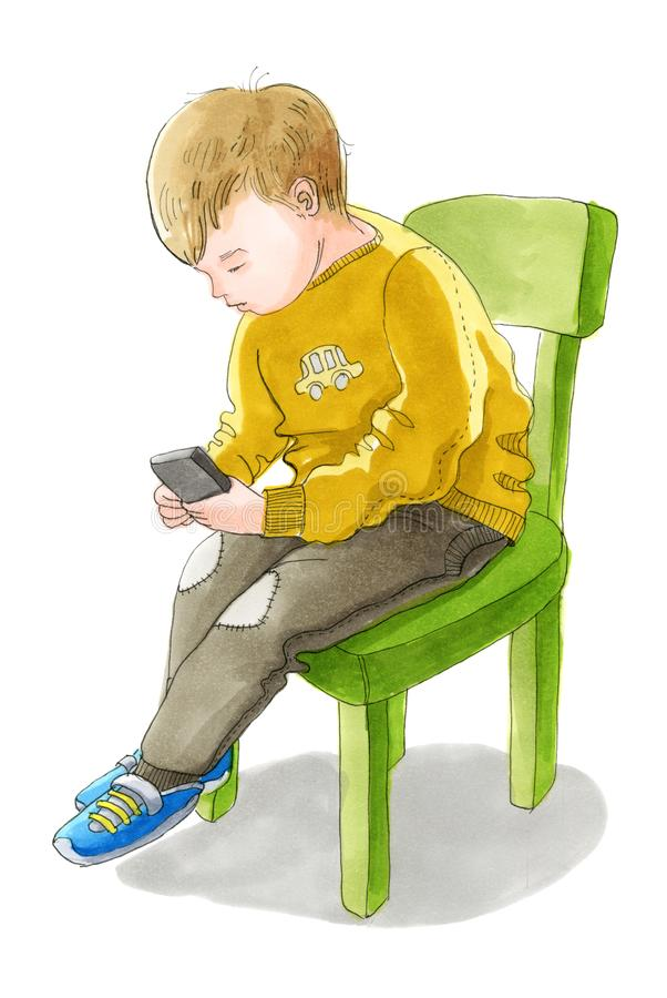 A criança branca na camiseta e nas calças está sentando-se na cadeira e ilustração stock