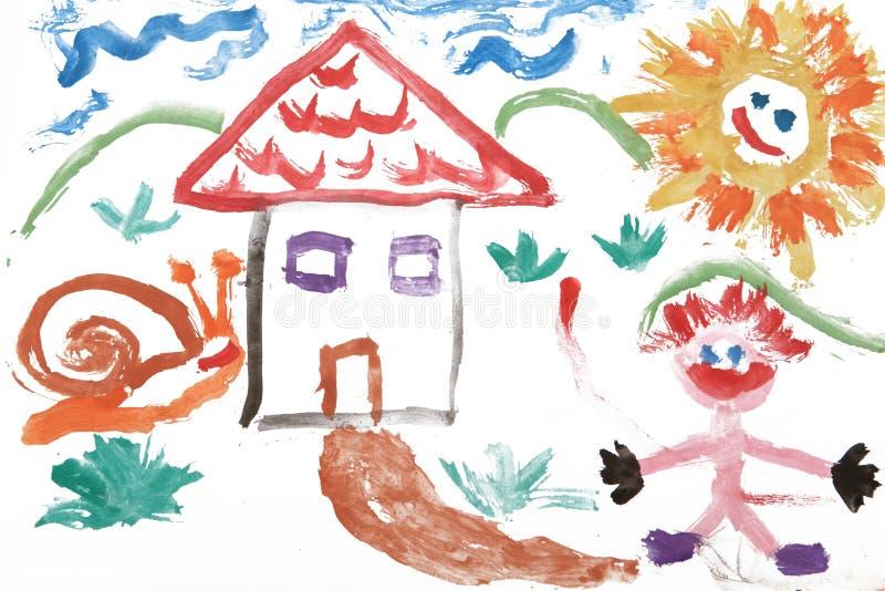 A criança caçoa o desenho da aguarela da casa ilustração stock