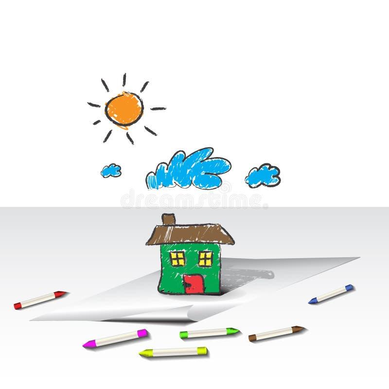 A Criança Caçoa O Desenho De Uma Casa Ou De Uma HOME Foto de Stock Royalty Free