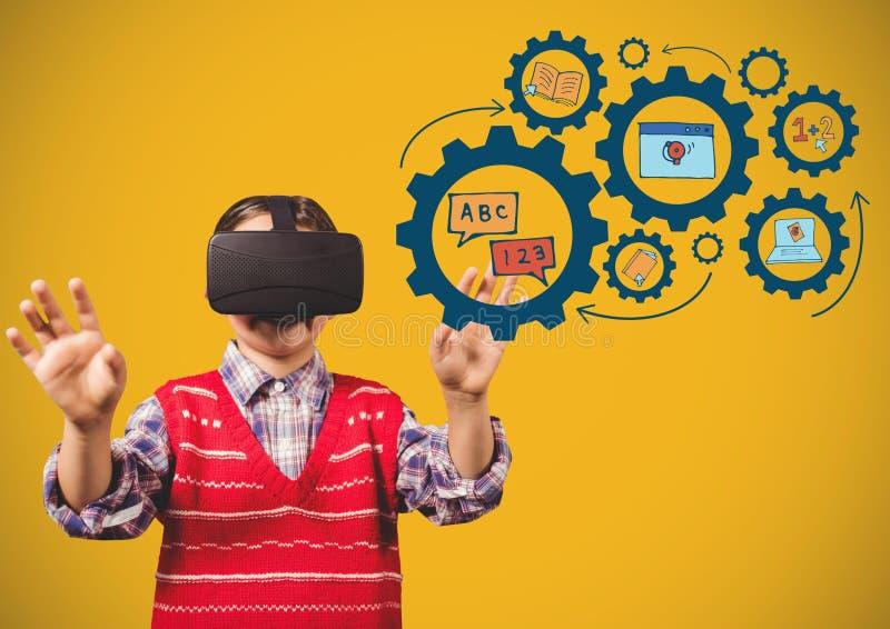 A criança com ícones tocantes da educação dos auriculares da realidade virtual alinha a aprendizagem de desenhos de gráficos ilustração royalty free