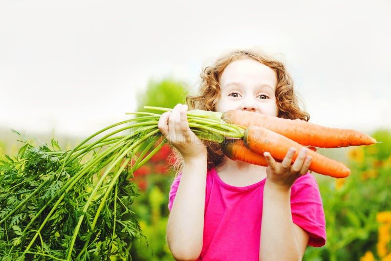 Criança com a cenoura no jardim fotos de stock royalty free