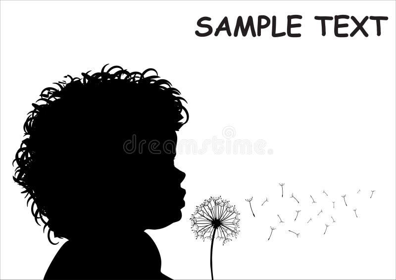 Criança com dente-de-leão ilustração royalty free