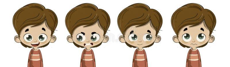 Criança com expressões faciais diferentes ilustração royalty free
