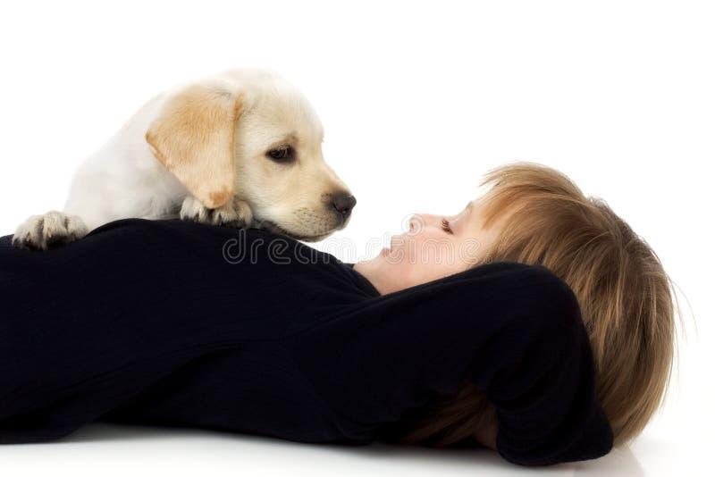 Criança com filhote de cachorro fotografia de stock