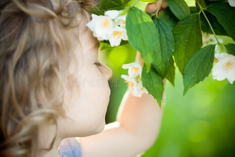 Criança com flor do jasmim imagens de stock