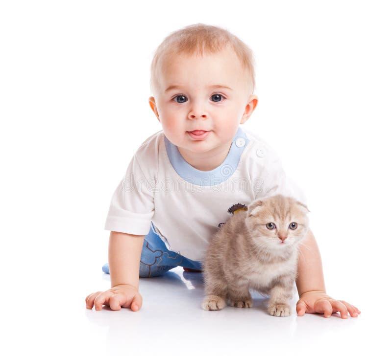 Criança com gatinho imagem de stock royalty free