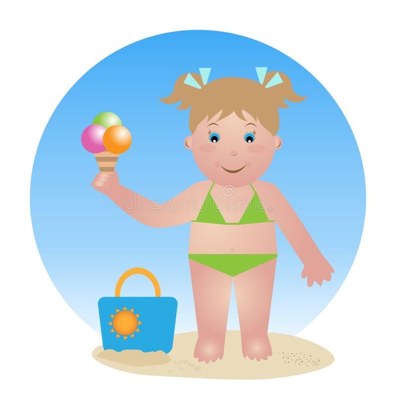 Criança com gelado ilustração royalty free