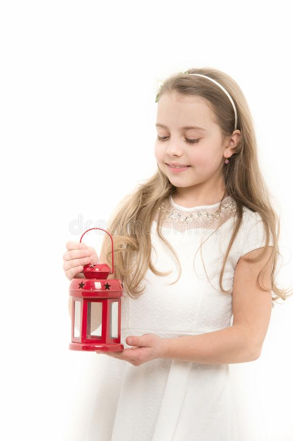 Criança com a lanterna vermelha do xmas imagem de stock royalty free