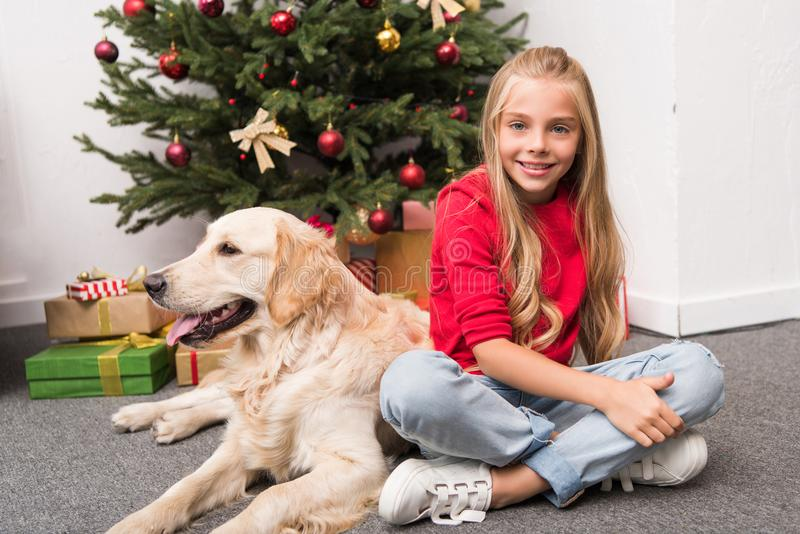 Criança com o cão no Natal imagem de stock royalty free