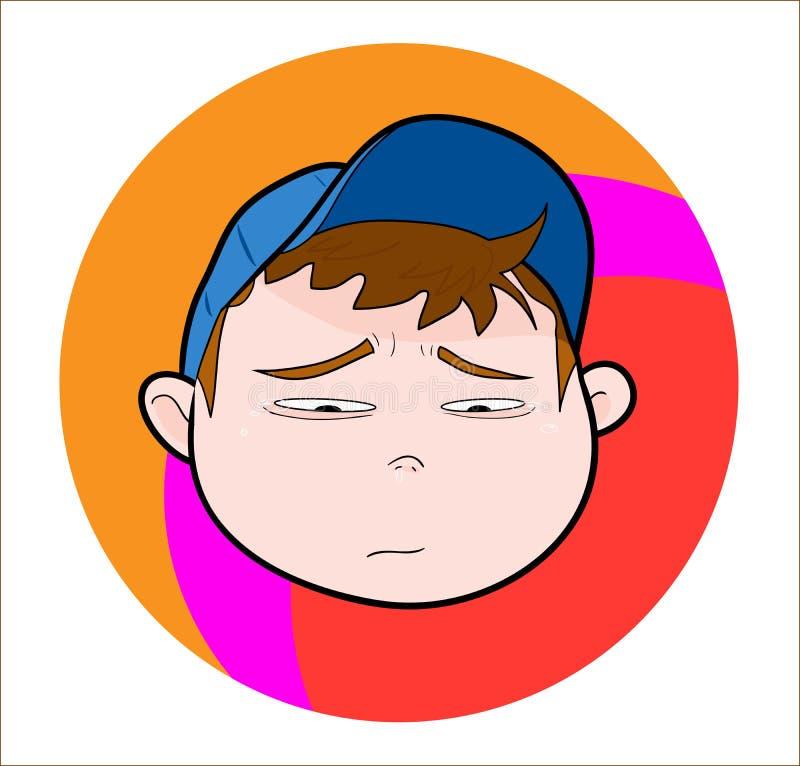 Criança com o tampão, triste/gritando ilustração stock