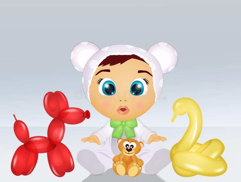 Criança com os balões sob a forma dos animais ilustração do vetor